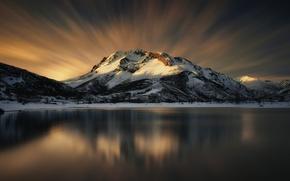 Wallpaper the sky, snow, mountains, lake, reflection, Winter