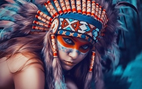 Picture girl, portrait, texture, feathers, headdress, Indian, war paint, like painting