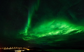 Picture stars, landscape, nature, Northern lights