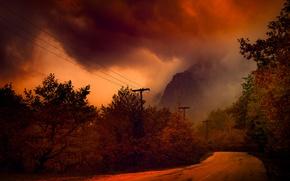 Picture road, autumn, night