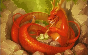Picture dragon, art, fantasy, bird, Chinese dragon, forest