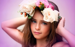 Picture girl, wreath, Flowers, child photography