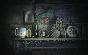 Picture background, dishes, fireplace