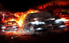 Wallpaper auto, chase, fire