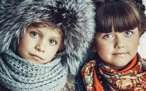 Picture winter, children, smile, hat, Russian winters