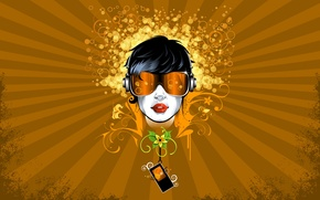 Wallpaper style, flowers, flowers, patterns, lines, glasses, point, abstraction, circles, lines, girl, player, abstraction, figure, girl, ...