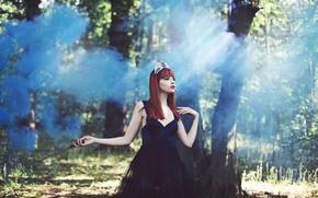 Picture forest, fantasy, tale, art, Diadema, sorceress, magic wand