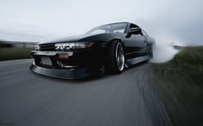 Picture nissan, turbo, drift, black, japan, smoke, jdm, tuning, silvia, front, speed, s13, burnout, face, nismo, …