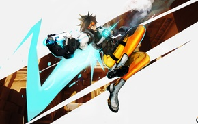 Picture Blizzard, girl, fps, shooter, Tracer, Overwatch, art