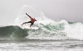 Picture splash, wave, surfer, surfboard, mick fanning