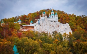 Wallpaper autumn, forest, the sky, leaves, trees, Church, Ukraine, the monastery, Donbass, Svyatogorsk, Svyatogorsk Lavra