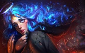 Wallpaper eyes, look, girl, face, hair, art, blue