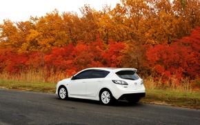 Picture road, machine, autumn, Mazda