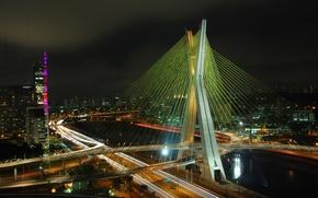 Picture night, bridge, lights, river, Brazil, promenade, cars, Octavio Frias de Oliveira, Sao Paulo