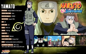 Picture Naruto, vest, ninja, Yamato, Konoha, naruto shippuuden, dossier, profile, bandage on forehead, by Masashi Kishimoto