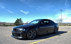 Picture the sky, clouds, trees, black, bmw, BMW, coupe, lantern, wheels, drives, black, trees, e46