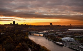 Wallpaper bridge, river, Moscow, Russia, MSU, Luzhniki, beautiful city