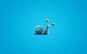 Wallpaper snail, minimalism, blue background, Turbo, Turbo, snail