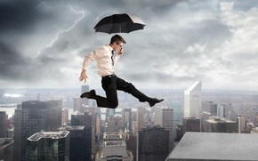 Picture creative, lightning, shirt, guy, umbrella, jump, the city, glasses, building