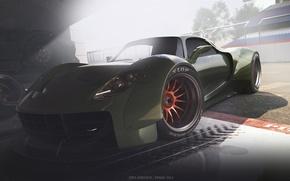 Picture Concept, Porsche, Car, Race, Front, 918, Wheels, Garage, Ligth