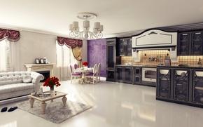 Picture design, table, sofa, furniture, Villa, interior, kitchen, curtains, luxury, Design, living room, luxury, Interior, Living