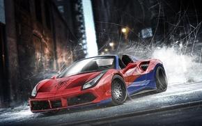 Picture auto, Ferrari, superhero, Marvel, Spider-man, Spider-Man, Marvel, DC Superheroes, Ferrari 488 Spider