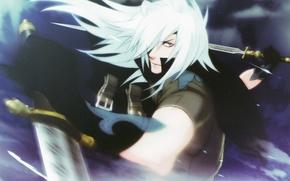 Picture weapons, the demon, the battle, cloak, ears, white hair, straps, visual novel, rai, lamento, by …