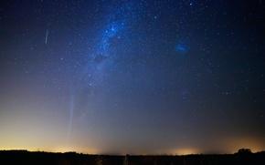 Picture satellite, meteor, comet, Lovejoy, Magellanic clouds