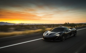 Picture car, auto, supercar, black, in motion, McLaren, McLaren P1