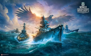 Picture war, ships, Bird, eagle, combat, Battleship, World of Warships, The World Of Ships