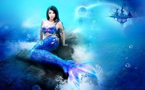 Wallpaper sea, girl, fiction, mermaid, underwater world