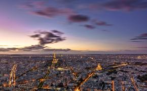 Wallpaper lights, the evening, tower, France, Paris, panorama
