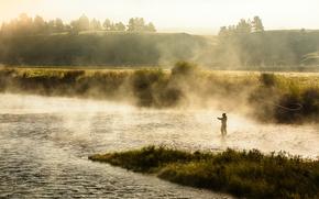 Picture landscape, nature, fog, river, fishing, morning