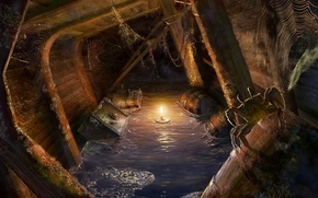 Wallpaper light, ship, crab, candle, web, fantasy, spider, light, pirates, barrels, chests, pirates, ship, candle, the ...