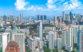 Picture city, skyline, houses, Singapore, buildings, architecture, skyscrapers, Asia, Megacity, construction, hotels, offices, Southeast Asia, Republic …