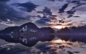 Picture water, home, morning, Slovenia, Bled lake