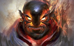 Picture face, fire, art, dota 2, moba, Ember spirit, xin
