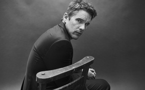 Picture photo, chair, costume, actor, black and white, Port, Ethan Hawke, Ethan Hawke, Billy Kidd