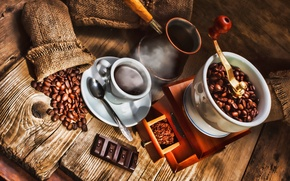 Picture coffee, chocolate, spoon, mug, drink, coffee beans, saucer, pouch, Turk, coffee grinder