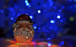 Picture toy, candle, New Year, Christmas, Santa Claus, Christmas, holidays, bokeh, New Year