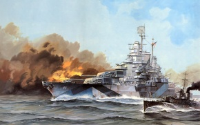 Wallpaper sea, wave, fire, smoke, figure, ship, art, CA, California, USS, WW2, linear, US NAVY, glavnyy ...
