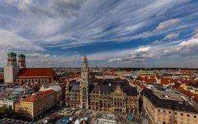 Picture Germany, Munich, panorama, town hall, Marienplatz