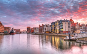 Picture sunset, home, Poland, channel, the sky, Gdansk