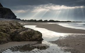 Picture sand, sea, the sky, clouds, stones, coast, UK, rays of light, Wales, Dunraven Bay