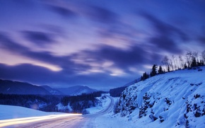 Picture winter, road, snow, mountains, nature, Canada, Albert