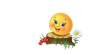 Picture tale, Daisy, art, stump, children's, mushroom, bun