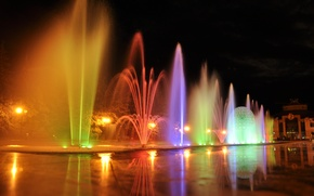 Picture water, night, lights, fountain