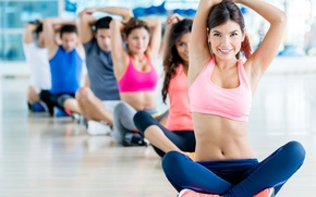 Picture pose, group, gym, yoga