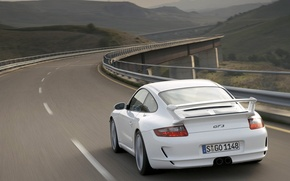 Picture road, white, 911, gt3, porshe