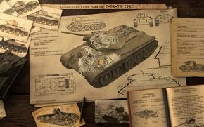 Picture scheme, art, tank, T-34-76, Soviet Tank, War thunder